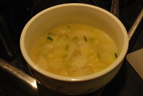 Shanghai nian gao + nappa cabbage soup