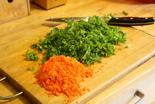 Kale and carrot pulp