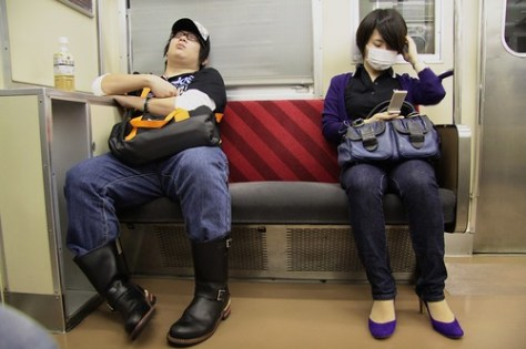 Sleeping on the Toyko metro
