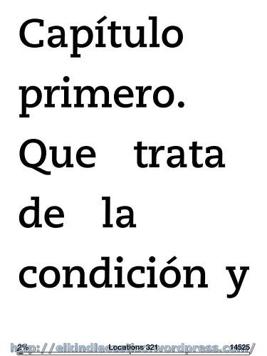El Quijote - Ejemplo con tamaño de letra 8