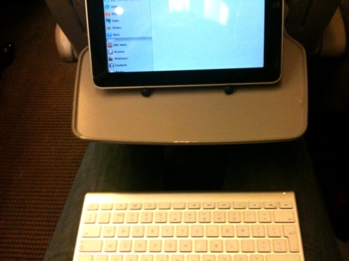 iPad on TRiPad with bluetooth keyboard on lap