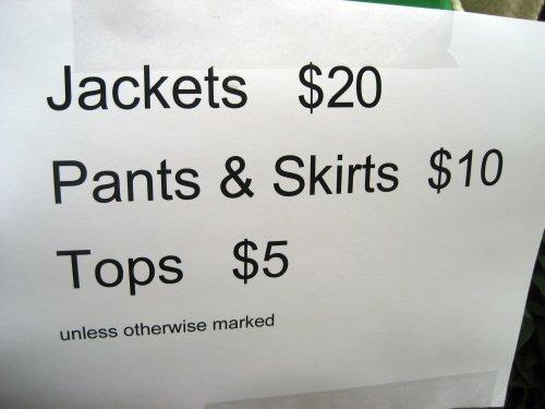 Jackets $20