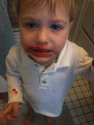 Oliver tried to shave with Daddy's razor