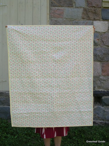 The back of the lemon striped quilt