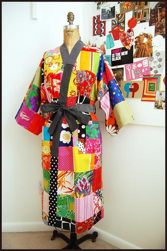 patchwork kimono robe