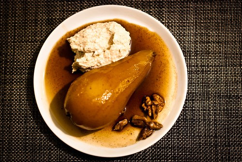 Baked pear with mascarpone and walnuts