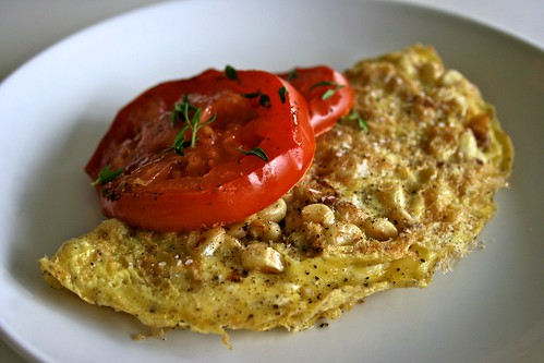 Sweet Corn & Goat Cheese Omelet with Oven Roasted Tomatoes ...