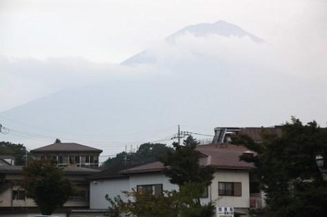 Mount Fuji shrouded in mist