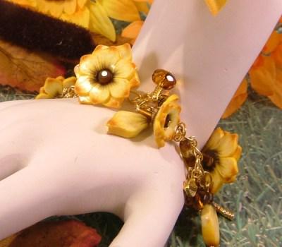 Autumn Sunflower Charm Bracelet