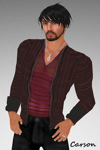 MHOH4 # 44 - []pole[] Brown Cardigan and Red Striped Tee