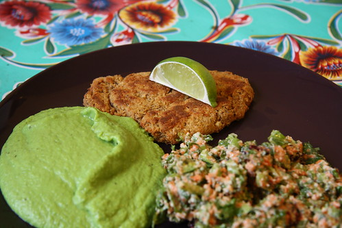 Chickpea Cutlet with  Green Pea and Leek Puree
