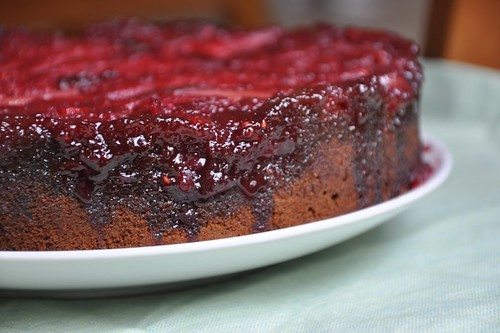 Nectarine-Raspberry Upside Down Gingerbread Cake