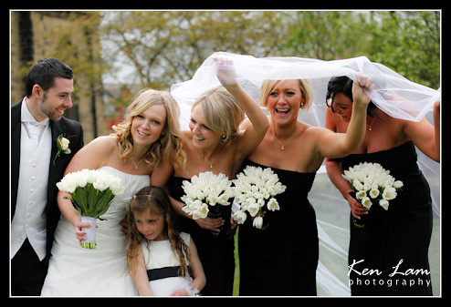 With her bridesmaids