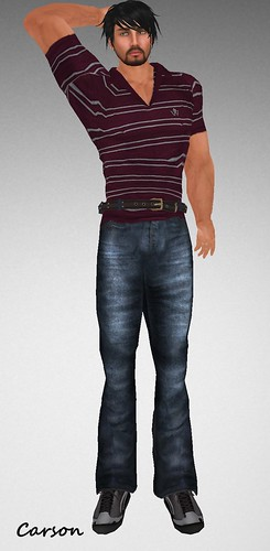MHOH4 # 100 - JUNGLE WEAR Striped V Neck Shirt Scims Jeans And Claws Sport Shoes