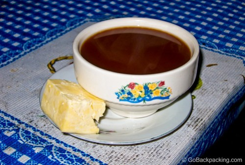 Hot, unsweetened chocolate, and cheese were a welcome treat after 2 hours on the horses.