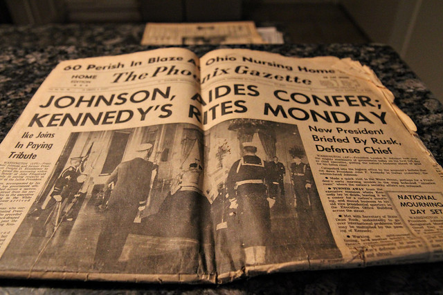 President Kennedy is assassinated, Johnson becomes President - paper dated 11/23/63.