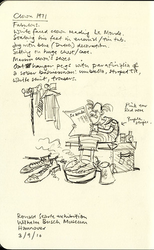 Exhibition sketchbook: Clown by Ronald Searle (1971)