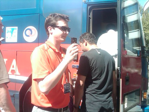 Thomas videotaping NOM Tour Trackers