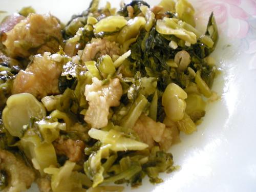 Mrs' fried salted vegetables with pork belly