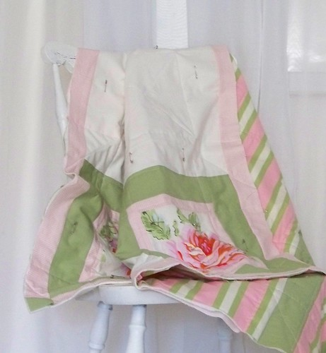 handmade sweet cottage style quilt - floral, stripe, solid and gingham fabrics
