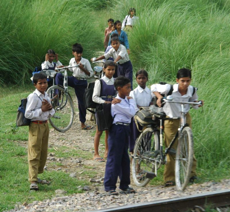 Crossing the tracks, Vidisha, Madhya Pradesh, india