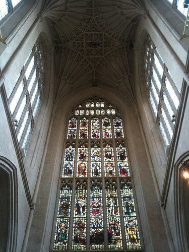 Stained glass window at Bath Abbey