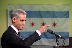 Rahm Emanuel, Pointing, With Chicago Flag in B...