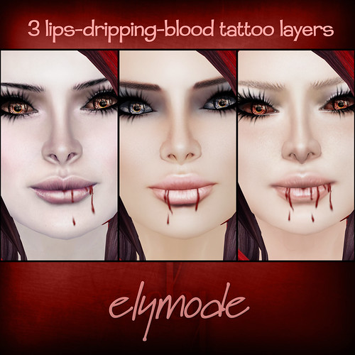 *elymode* lips-dripping-blood tattoo layers