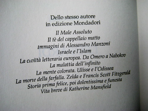 Pietro Citati, Leopardi, Mondadori 2010; art dir.:Giacomo Callo, graph. designer:Cristina Brazzoni; p. del colophon (part.), 1