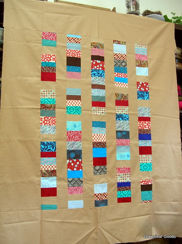 Stacked coins quilt top