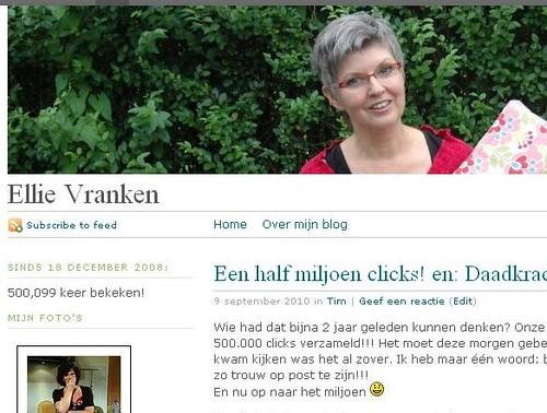 een half miljoen clicks op 9 september 2010! Bedankt allemaal!