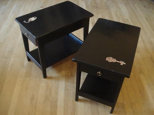 black steampunk nightstands set