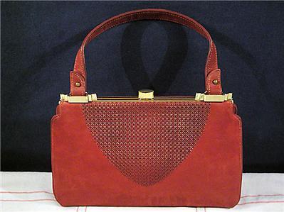 Handbag Burgundy Suede Leather1