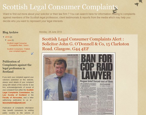 Scottish Legal Consumer Complaints web blog