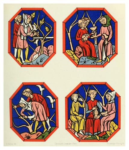 005-Viñadores y bodegueros-vitral siglo XIII catedral de Mans-Le moyen äge et la renaissance…Vol III-1848- Paul Lacroix y Ferdinand Séré