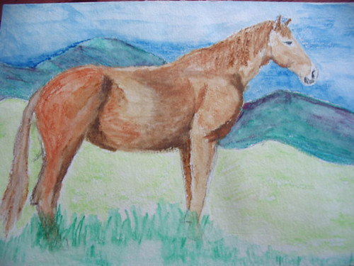 Horse painted with watercolor pencils