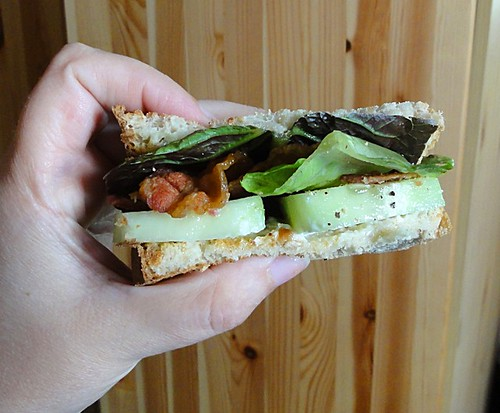 Bacon and cucumber sandwich.