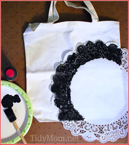 stencil bag with doily
