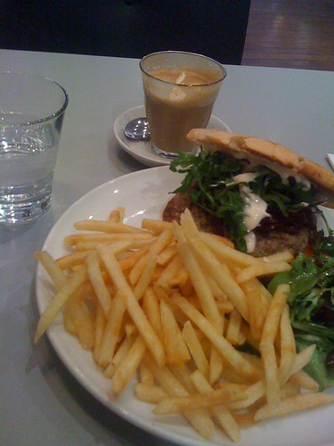 beef burger and fries, the falconer