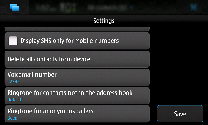 The settings dialog with the extra ringtone buttons