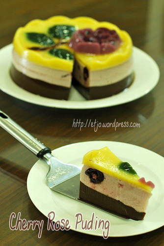 Cherry Rose Slice Puding