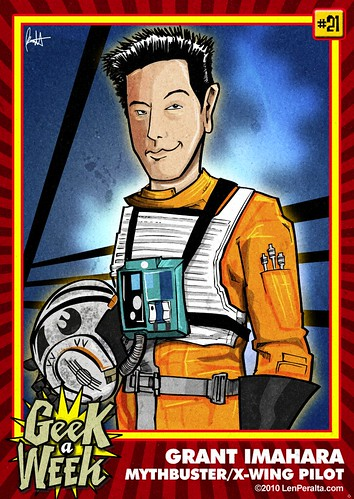 Mythbuster Grant Imahara's Geek A Week card by Len Peralta