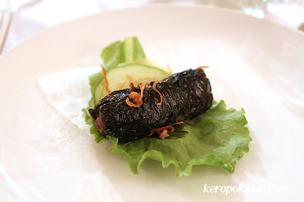 Beef scented lemongrass rolled in wild betel leaves and char-grilled
