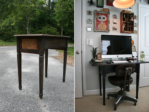 Computer table before/after.