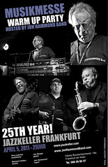 Poster for Jon Hammond's annual  MUSIKMESSE WARM UP PARTY in Jazzkeller Frankfurt