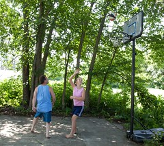 Terry and Hannah shoot some hoops