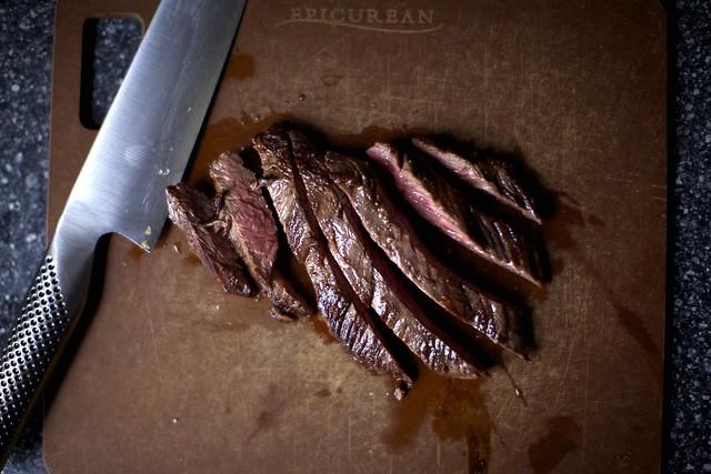thunderstorm outside, steak inside