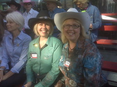 Elizabeth May and Adriane Carr waiting for the Stampede Parade to begin!