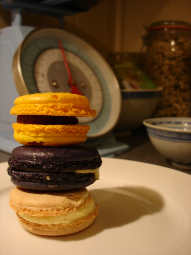 Violet and vanilla, Vanilla and Passion fruit and chocolate macarons