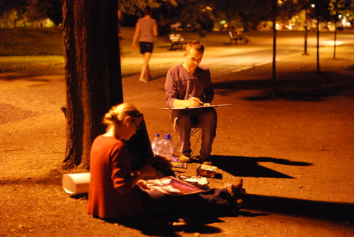 Artists are painting Ostrów Tumski by night